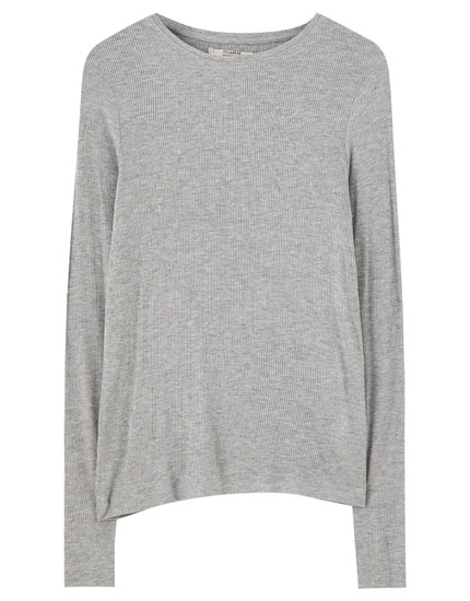 Basic long sleeve ribbed T-shirt