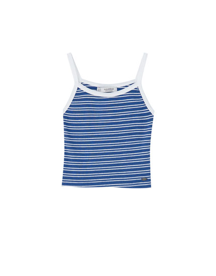 Ribbed striped tank top