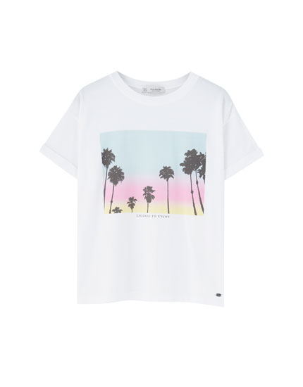 Contrast palm tree print T-shirt