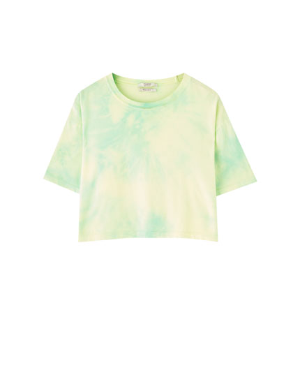 Cropped lime green tie-dye T-shirt