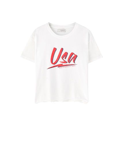 T-shirt blanc inscription USA
