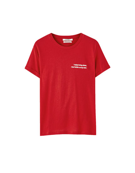 Red T-shirt with contrast slogan