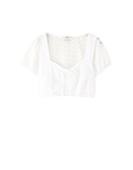 White Swiss-embroidered blouse