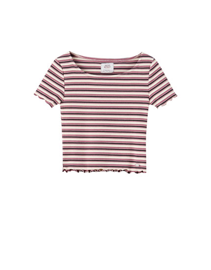 Ribbed top with contrast stripes