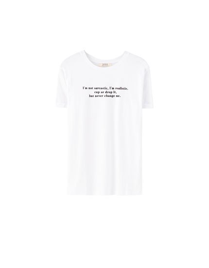 Basic contrast slogan T-shirt