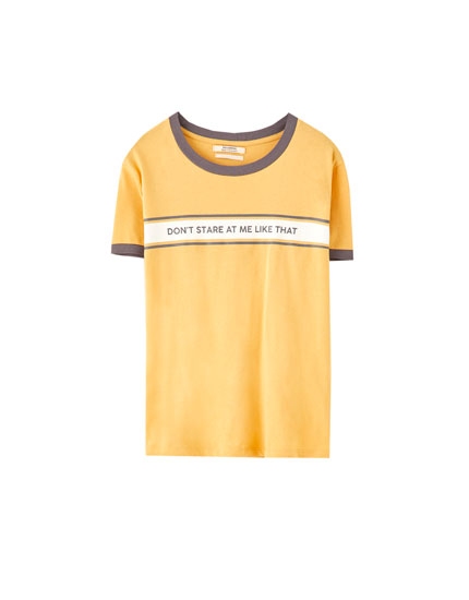 Ribbed T-shirt with a slogan