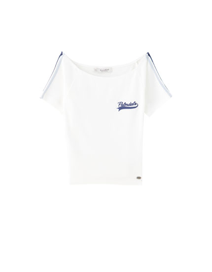 Cropped boat-neck T-shirt