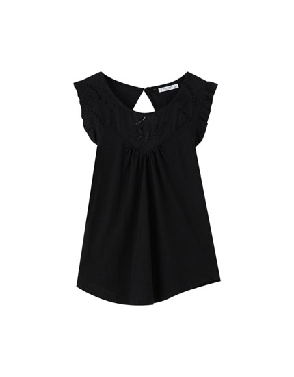 T-shirt sans manches broderie anglaise