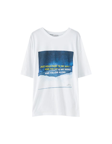 T-shirt blanc inscription contrastante