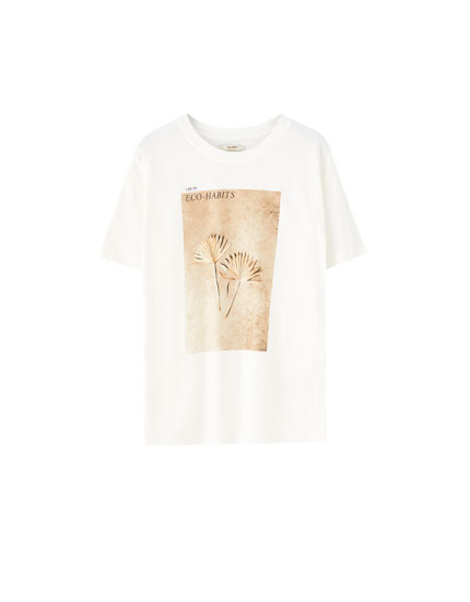 White T-shirt with leaf print