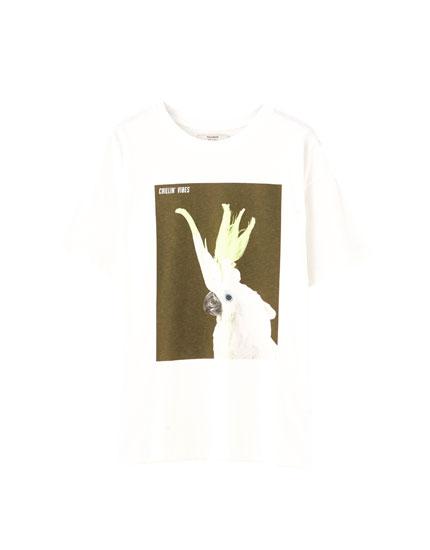 Hvid T-shirt med papegøje