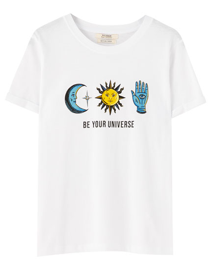 White T-shirt with astrology illustration