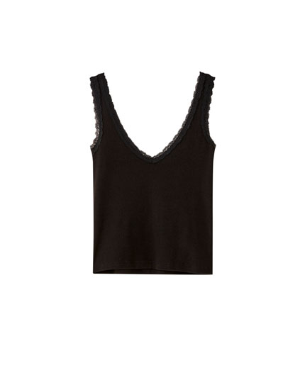 Ribbed vest top with lace-trimmed straps