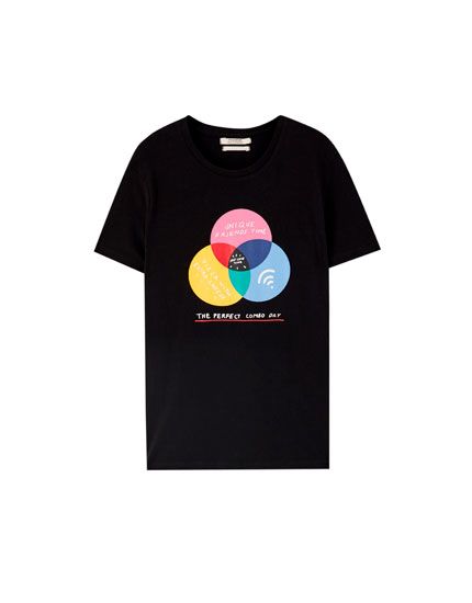 Circle and Wi-Fi illustration T-shirt