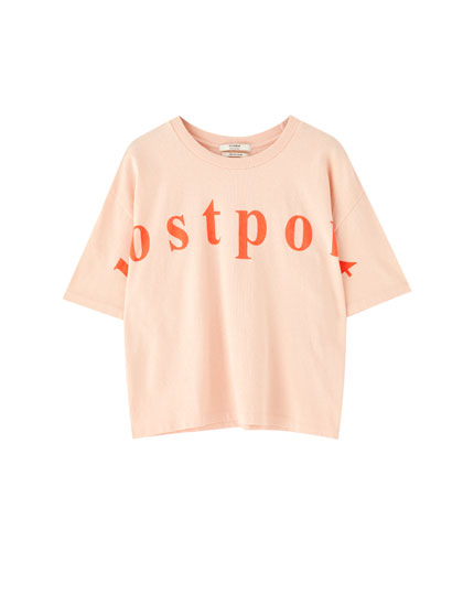Orange T-shirt with slogan