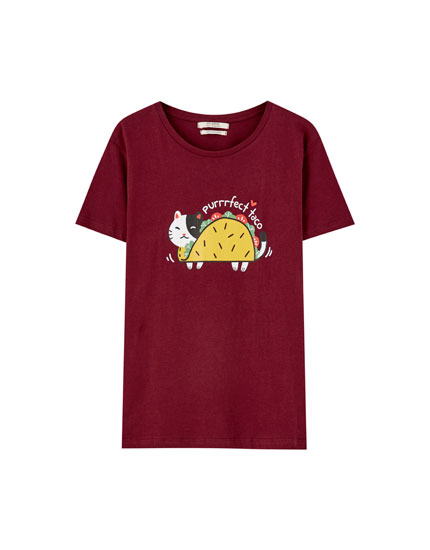 T-shirt with taco cat print