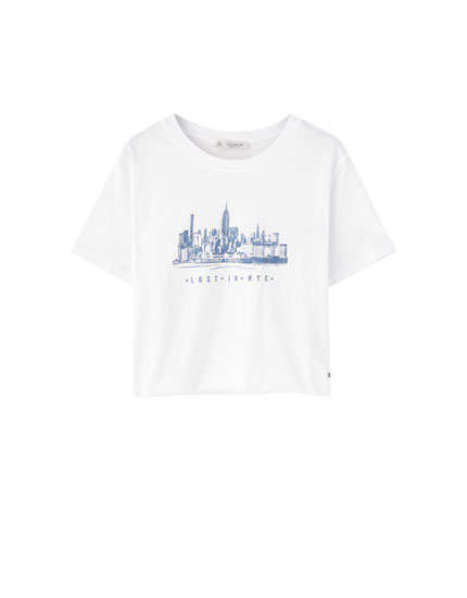 White skyscraper T-shirt
