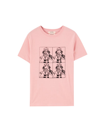 T-shirt with comic girls illustration