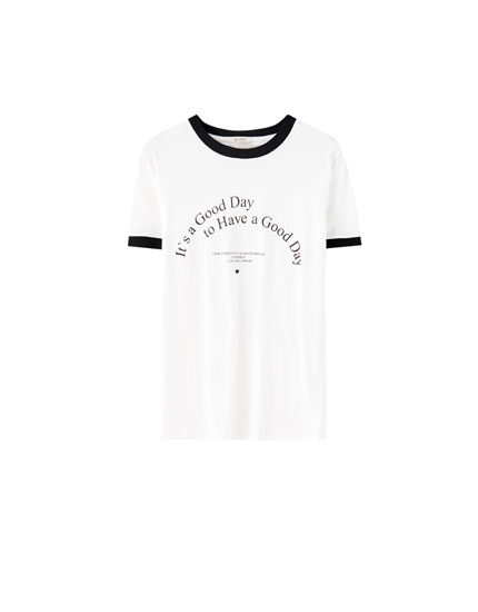 Ribbed slogan T-shirt