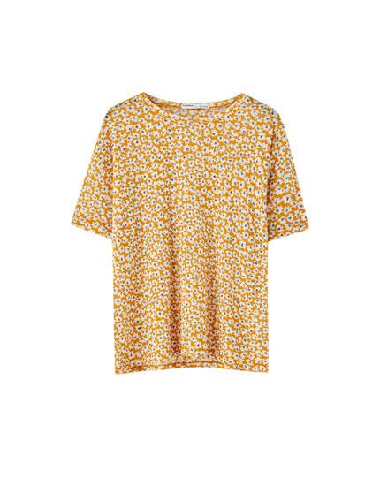 Strukturvævet T-shirt med blomsterprint