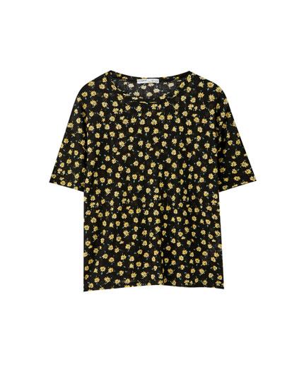 Textured floral print T-shirt