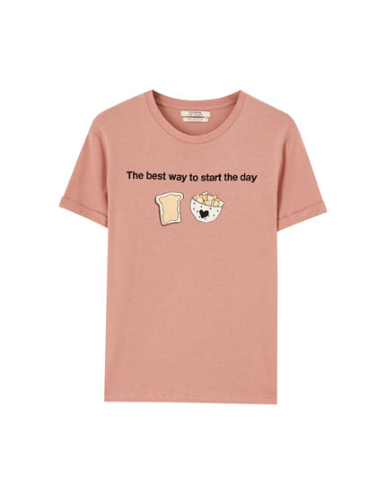 Slogan and illustration T-shirt