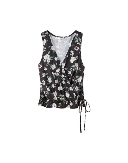 Vest top with wrap front