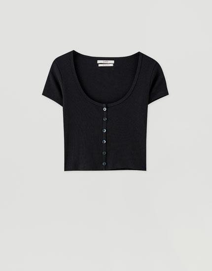 Κοντομάνικη μπλούζα με κουμπιά