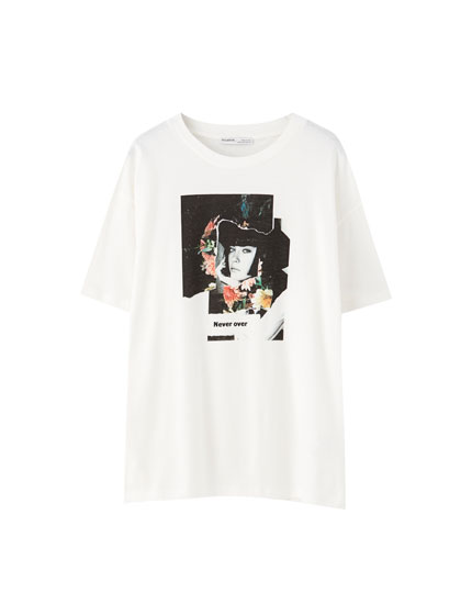 "White ""Never over"" illustration T-shirt"