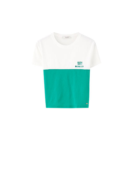 Colour block slogan T-shirt
