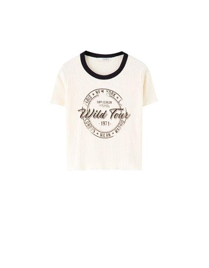 T-shirt en maille côtelée illustration wild tour