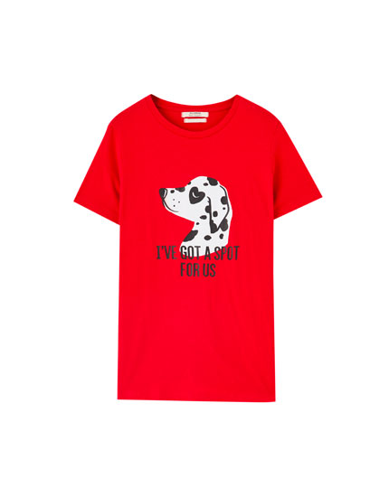 Red T-shirt with dalmatian print and slogan