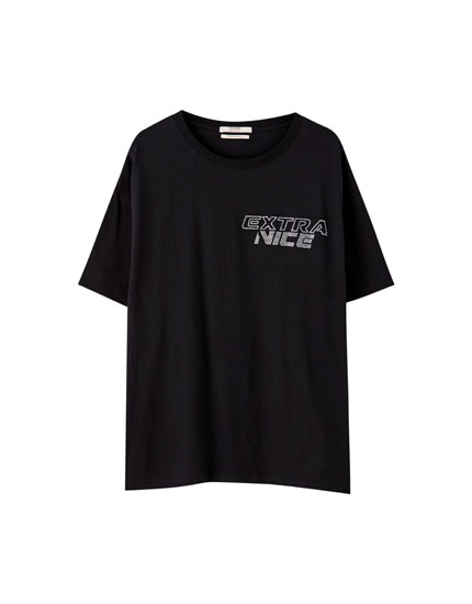 Black T-shirt with rhinestone slogan