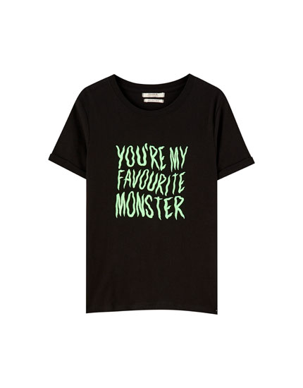 T-shirt Halloween inscription contrastante