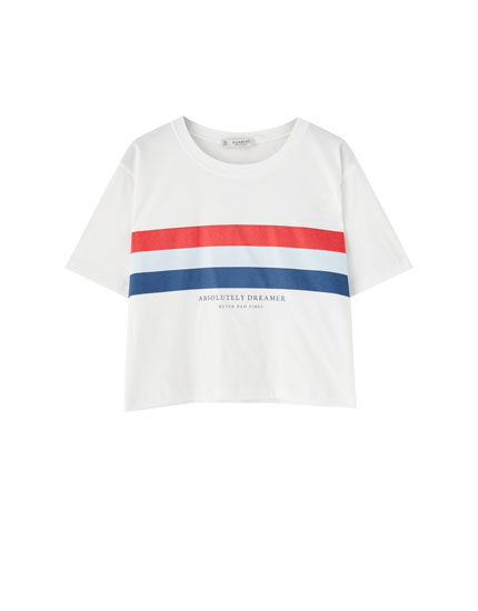 White T-shirt with colourful stripes