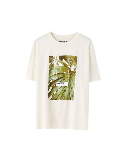 Camiseta branca pantone planta