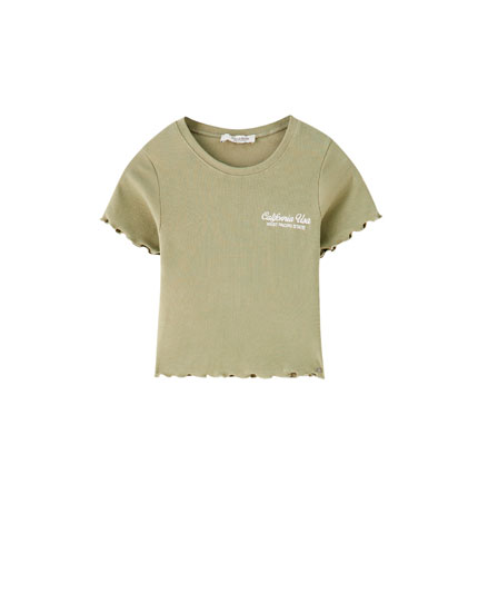 Cropped T-shirt with embroidery on the chest