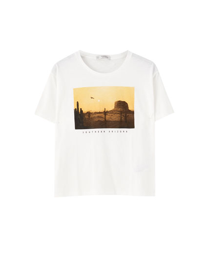 White desert illustration T-shirt