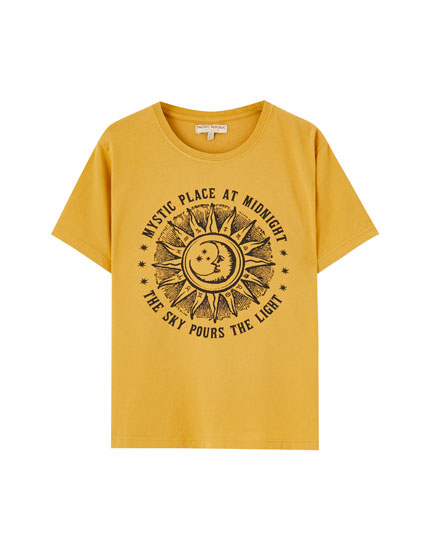 Yellow sun and moon T-shirt