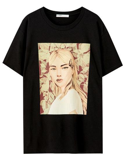 Camiseta negra ilustración chica