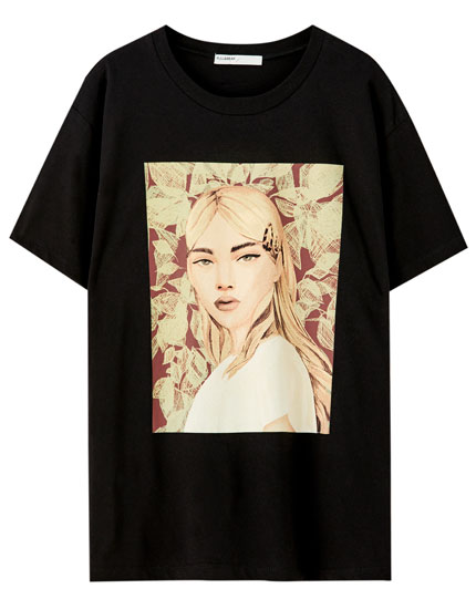 Black T-shirt with girl illustration