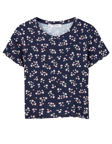 Camiseta flores cuadrillé