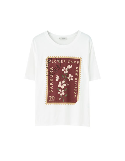 T-shirt with stamp illustration