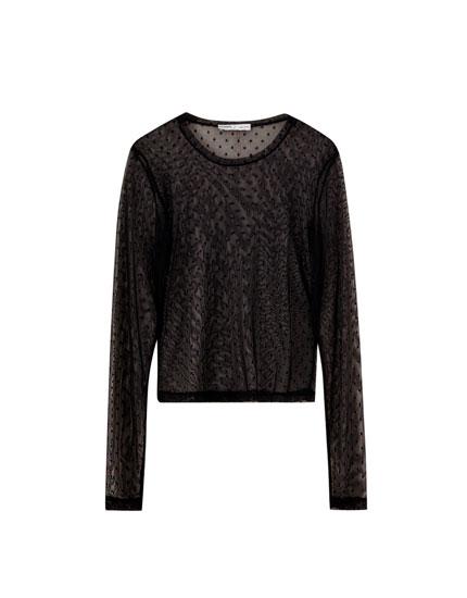 Black tulle T-shirt