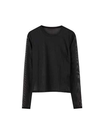 T-shirt tulle noir