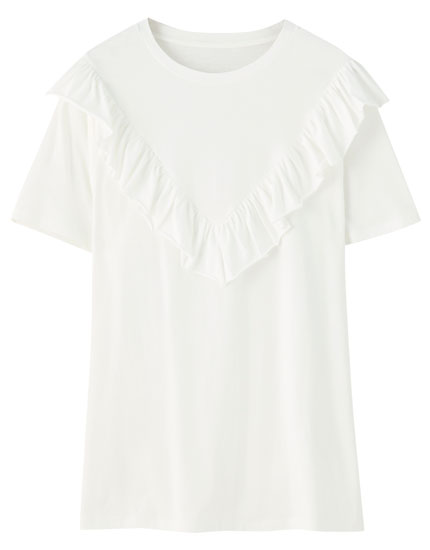 Basic T-shirt with yoke ruffle