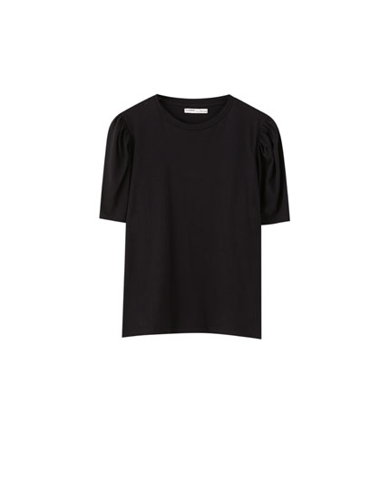 Plain puff sleeve T-shirt