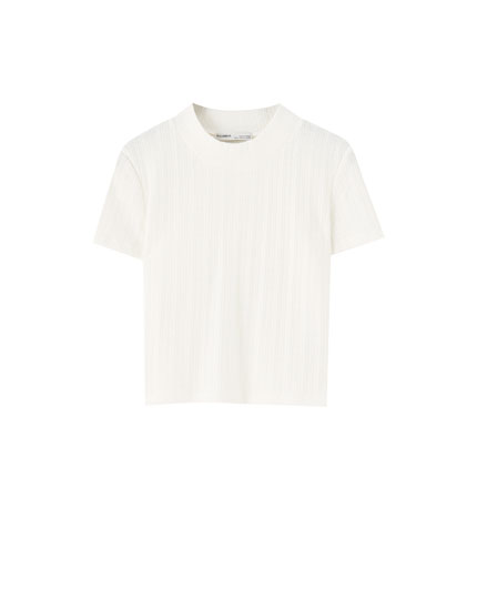 High neck cable-knit T-shirt