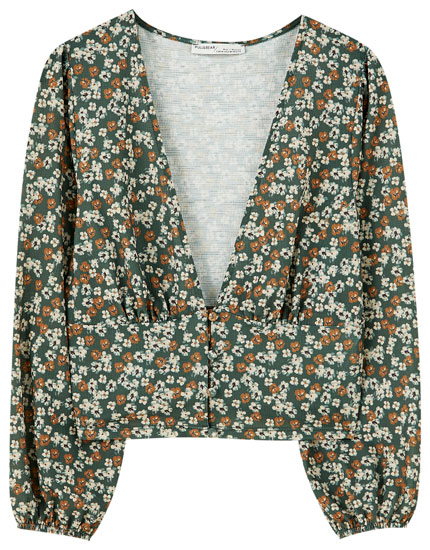 Button-up floral blouse