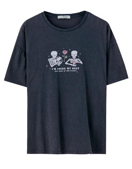 T-shirt noir têtes de mort inscription